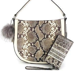 3PCS Michael Kors Python Convertible Bag Wallet